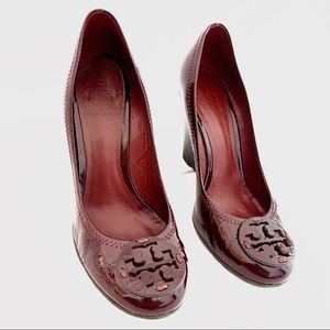 Tory Burch 7.5 Red Patent Leather Sophie Wedges